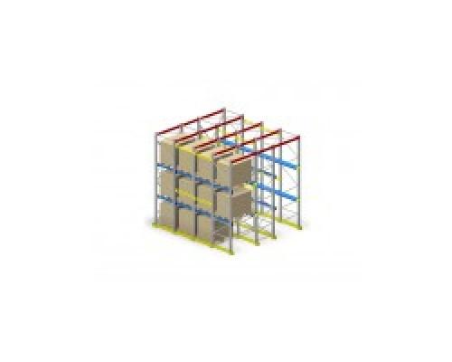 Складской стеллаж Микрон глубинный H = 4500, L = 1350, G = 900
