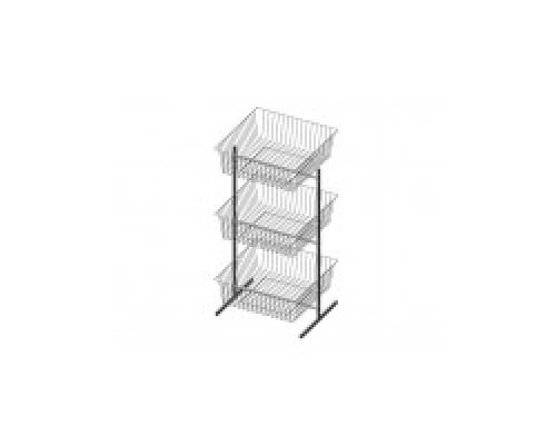 Стойка/стенд/сетка из металлической сетки Гефест 3-х ярусная с корзинами 600x600x200 мм